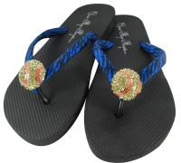Zebra Softball Rhinestone Flip Flop Sandals