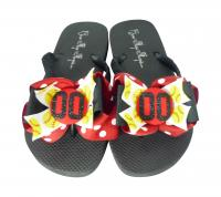 Red & Black Softball Glitter Bow Flip Flops