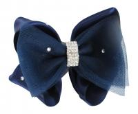 Navy Tulle & Satin Hair Bow