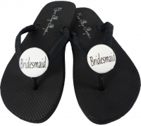Black Bridesmaid Flip Flops with White Button