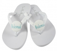Aqua and White Bridesmaid flip flops