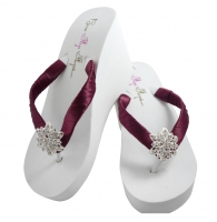 Bridal Flip Flops with Vintage Flower Rhinestone Wine/many colors-  VF11