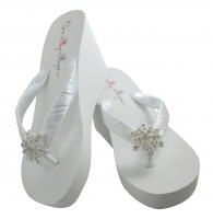 High or Low Wedge Vintage Flower Wedding Flip Flops in White or Ivory