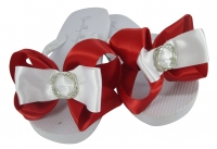 Red Infinity Circle Bow Flip Flops