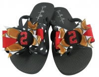 Football flip flops in red and black glitter bows