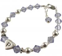 Crystal & Sterling Silver Initial Girl's Bracelet