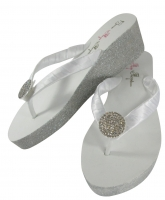 Round jewel glitter white wedges with silver bridal flip flops