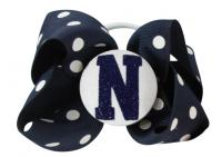 Glitter Initial Hair Bow - Navy/White or choose colors