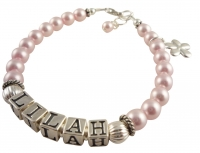 Pink Pearl Flower Girl Bracelet with Sterling Silver Name & Charm