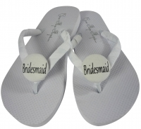 Bridesmaid flip flops in White Flats